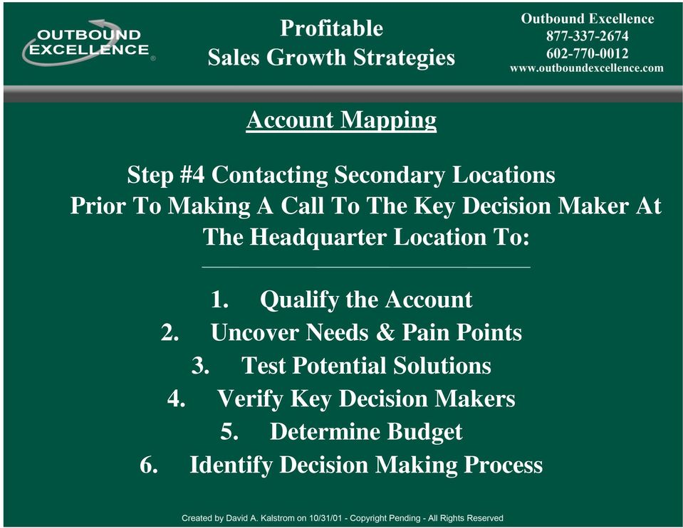 Qualify the Account 2. Uncover Needs & Pain Points 3.