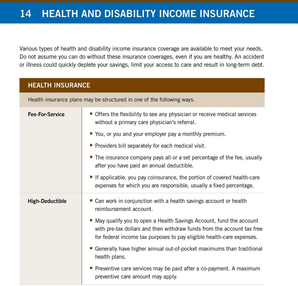 Health Insurance Health insurance plans may be structured in one of the following ways.