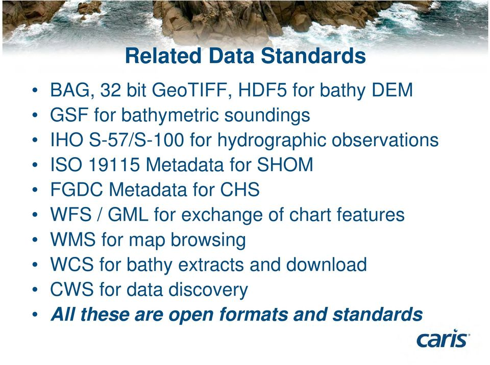 Metadata for CHS WFS / GML for exchange of chart features WMS for map browsing WCS for