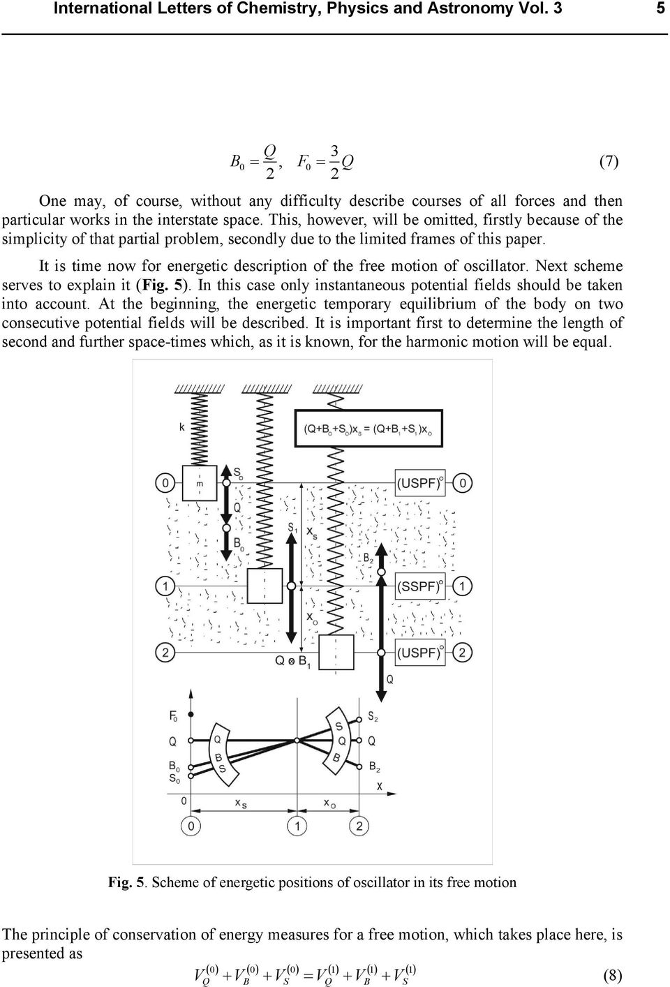 It is time now for energetic description of the free motion of oscillator. Next scheme serves to explain it (Fig. 5). In this case only instantaneous potential fields should be taken into account.