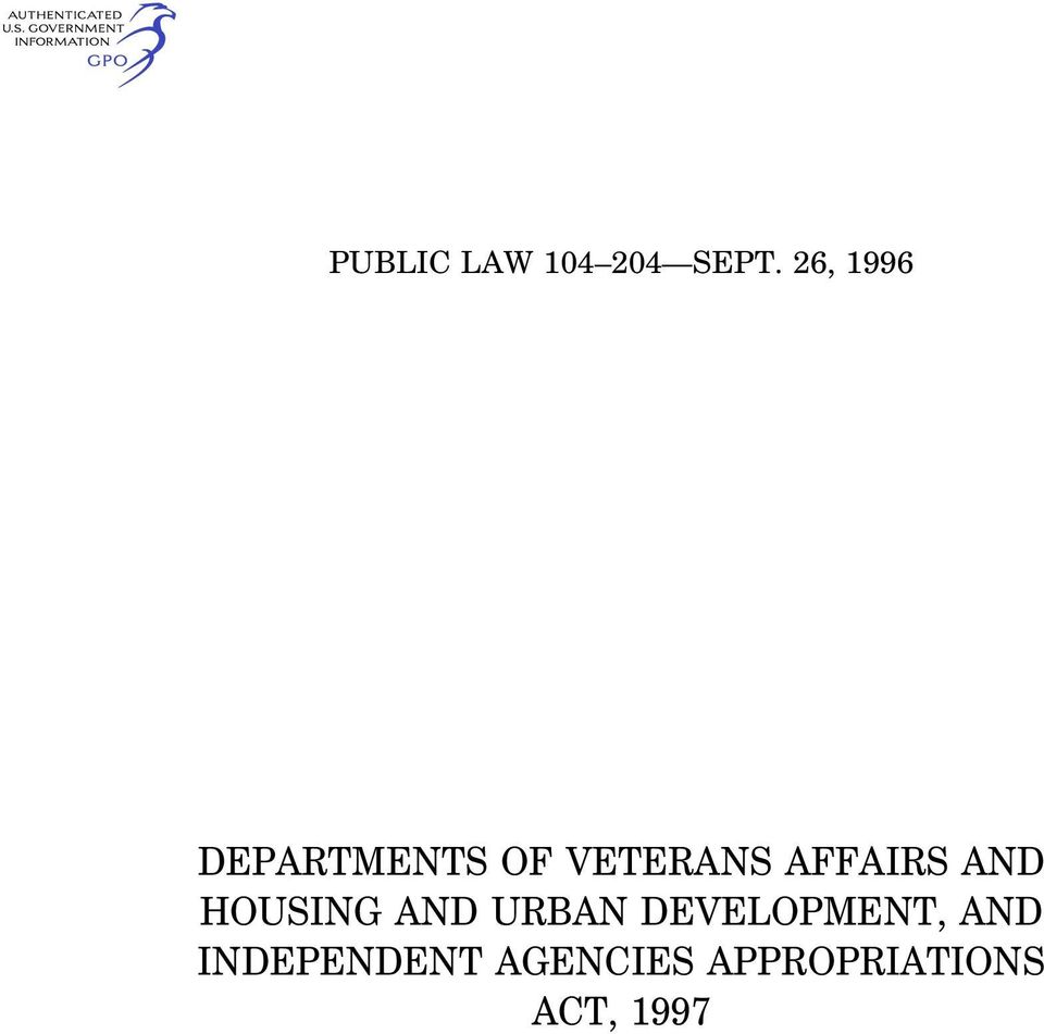 AFFAIRS AND HOUSING AND URBAN