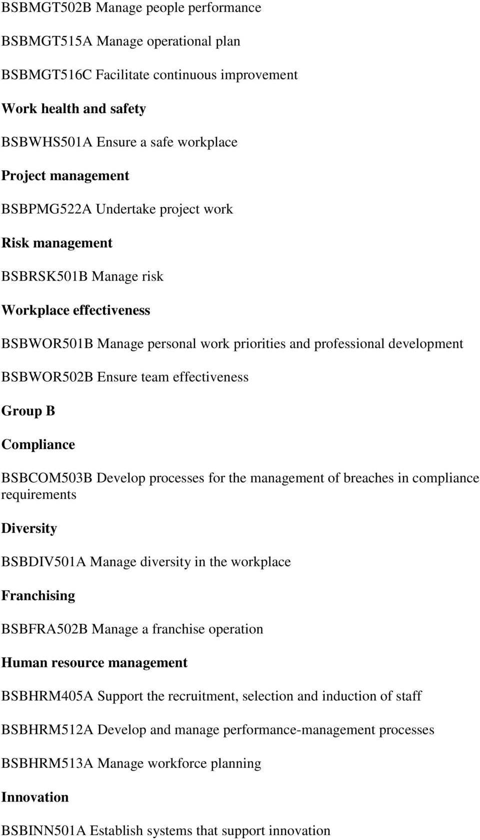 effectiveness Group B Compliance BSBCOM503B Develop processes for the management of breaches in compliance requirements Diversity BSBDIV501A Manage diversity in the workplace Franchising BSBFRA502B