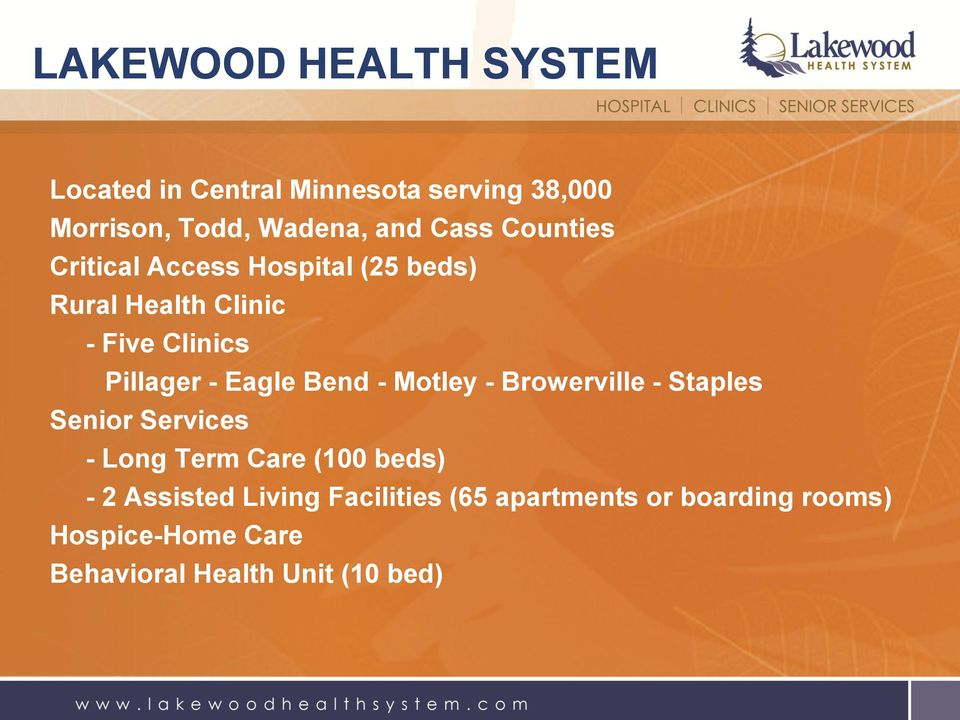 Eagle Bend - Motley - Browerville - Staples Senior Services - Long Term Care (100 beds) - 2