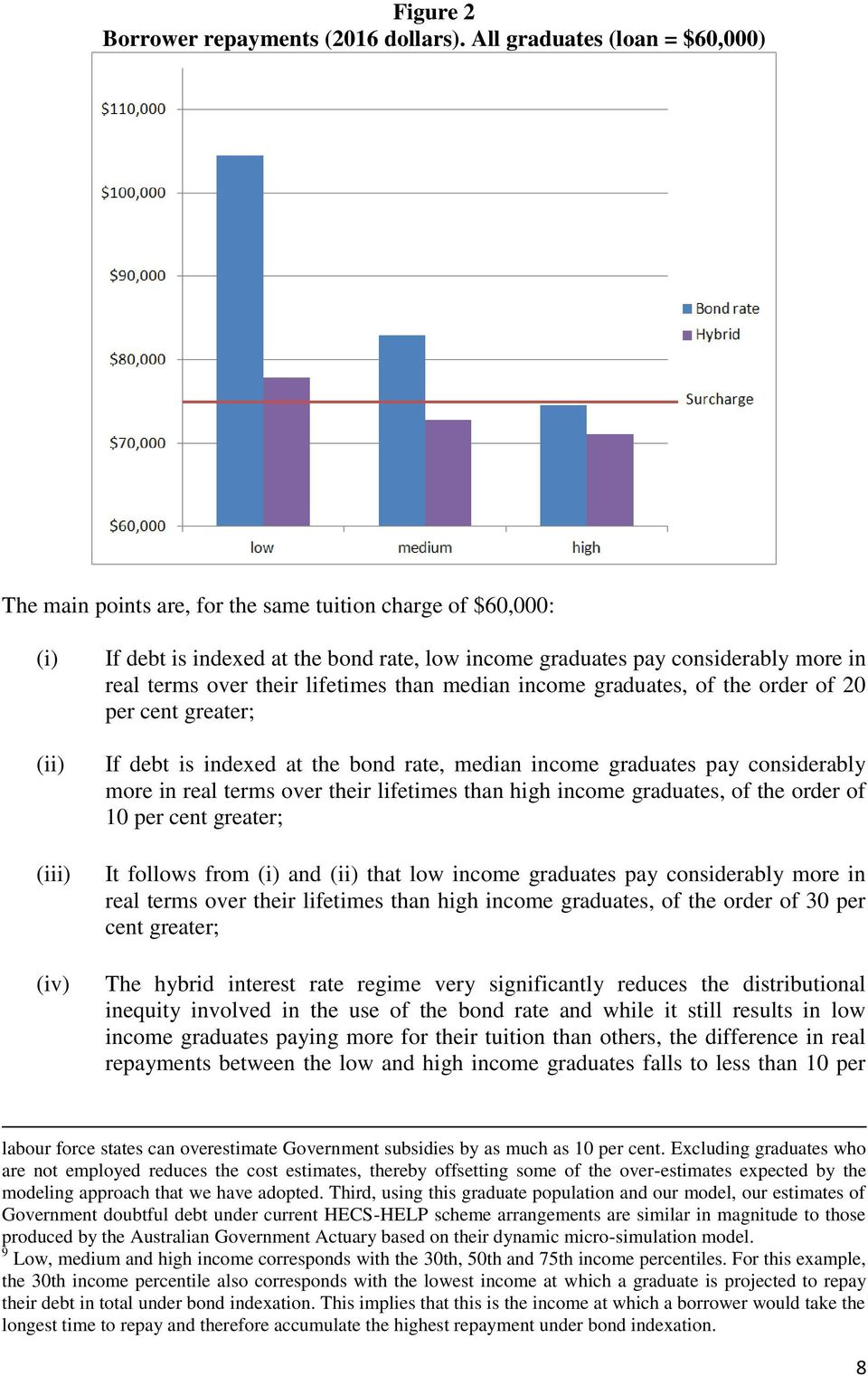 terms over their lifetimes than median income graduates, of the order of 20 per cent greater; If debt is indexed at the bond rate, median income graduates pay considerably more in real terms over