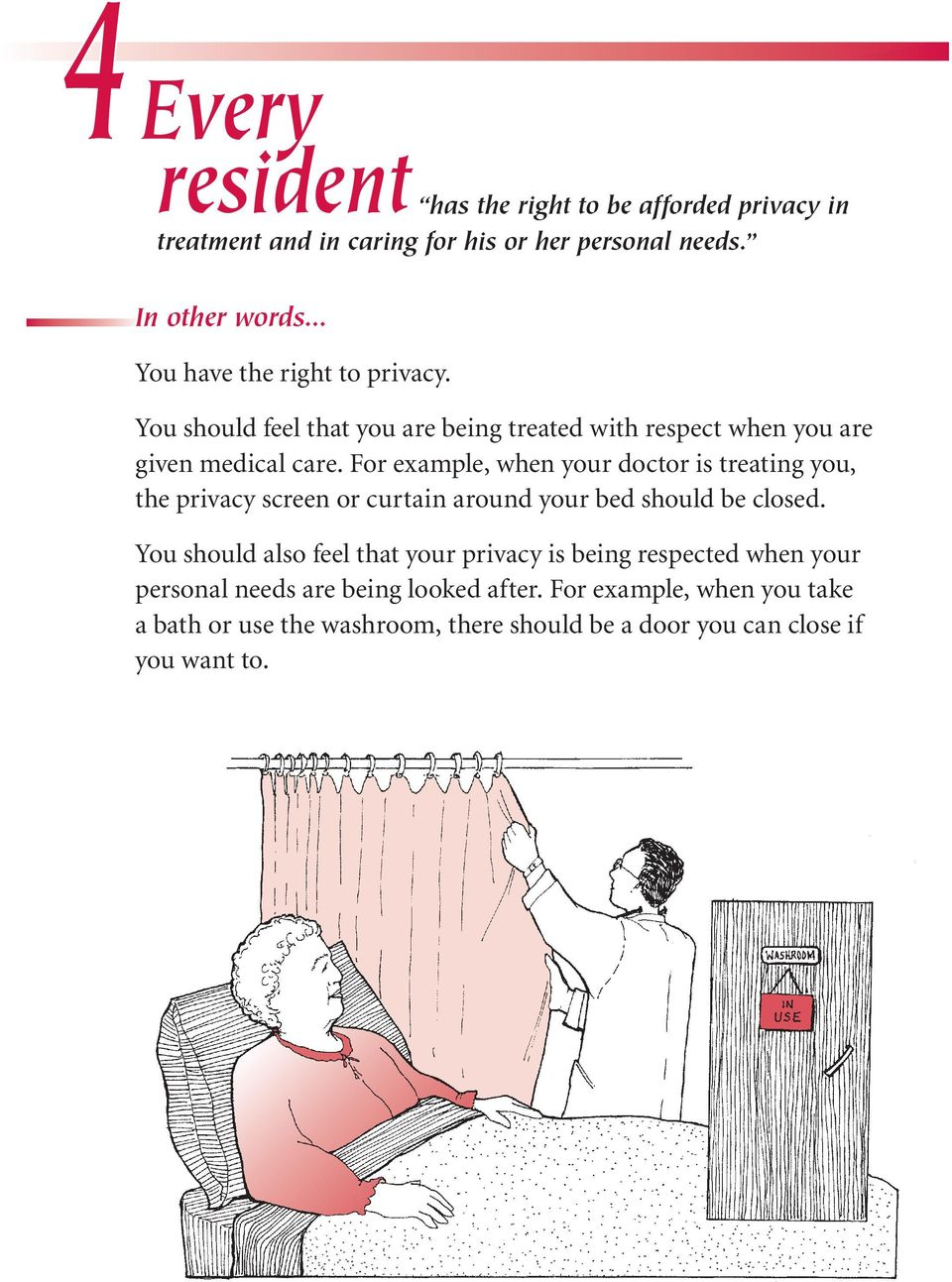 For example, when your doctor is treating you, the privacy screen or curtain around your bed should be closed.