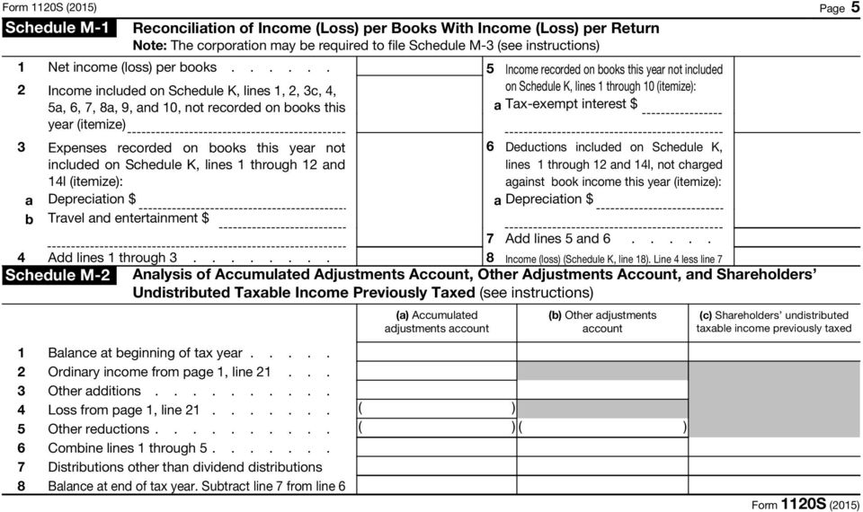 through 12 and 14l (itemize): a Depreciation $ b Travel and entertainment $ 5 Income recorded on books this year not included on Schedule K, lines 1 through 10 (itemize): a Tax-exempt interest $ 6