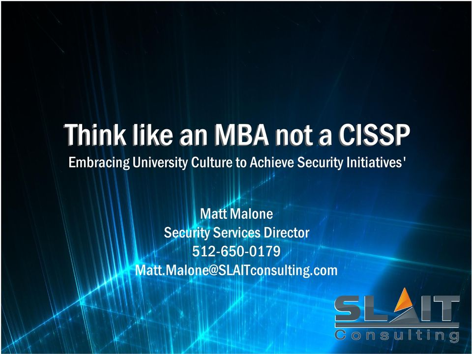 Initiatives' Matt Malone Security Services