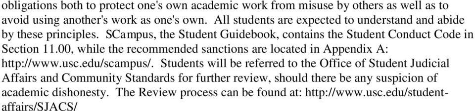 00, while the recommended sanctions are located in Appendix A: http://www.usc.edu/scampus/.