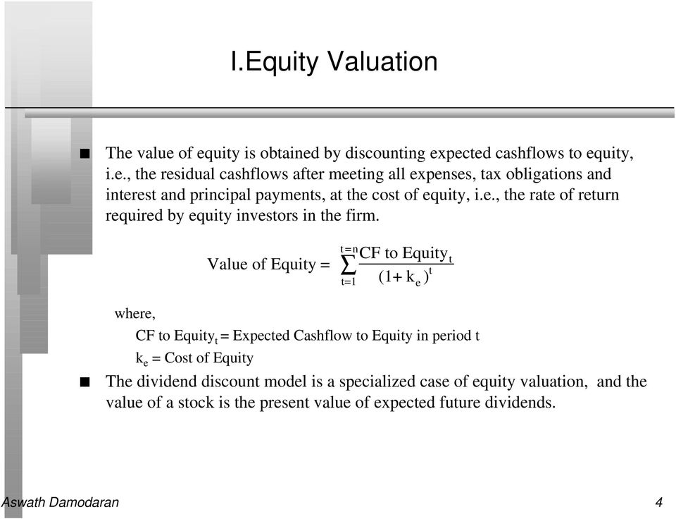 e., the rate of return required by equity investors in the firm.