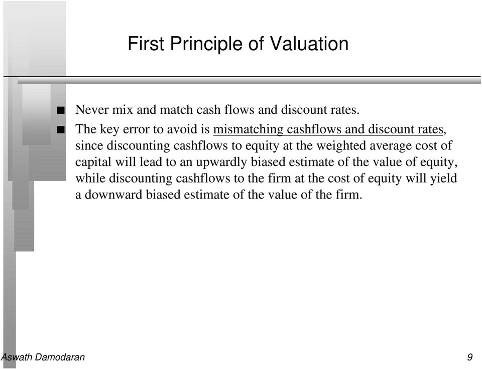 the weighted average cost of capital will lead to an upwardly biased estimate of the value of equity, while