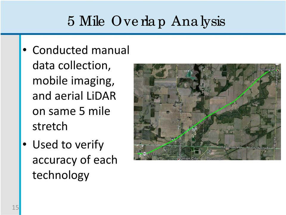 and aerial LiDAR on same 5 mile stretch