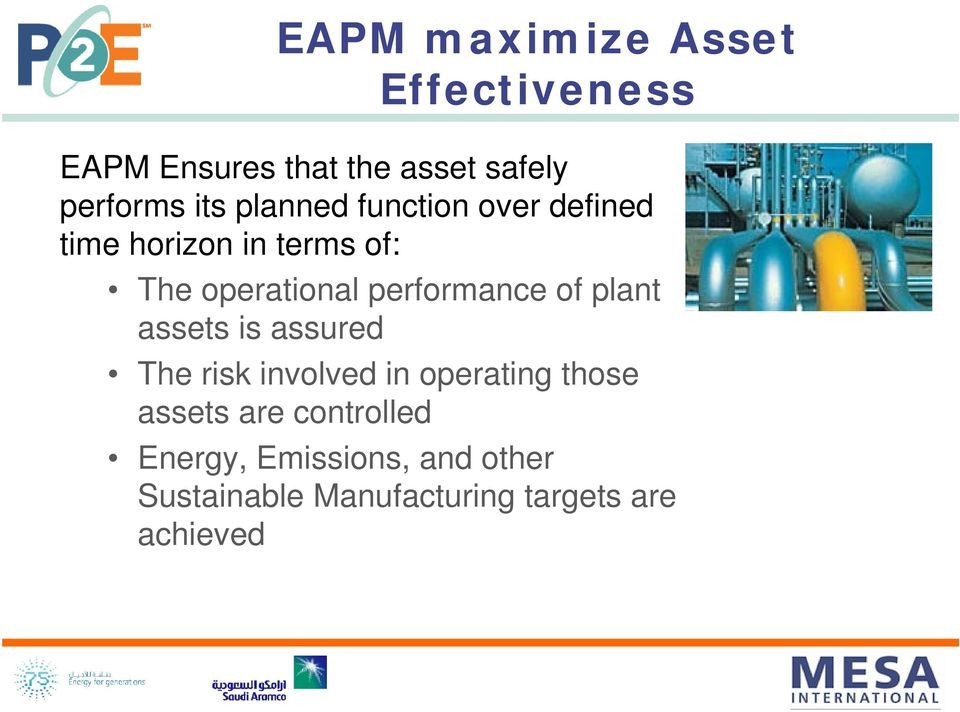 performance of plant assets is assured The risk involved in operating those