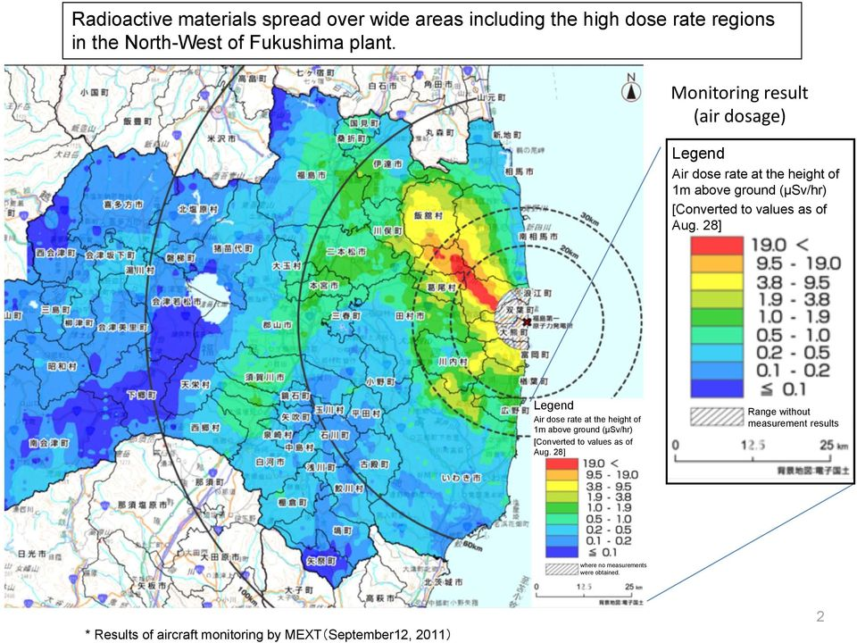 Aug. 28] Legend Air dose rate at the height of 1m above ground (μsv/hr) [Converted to values as of Aug.