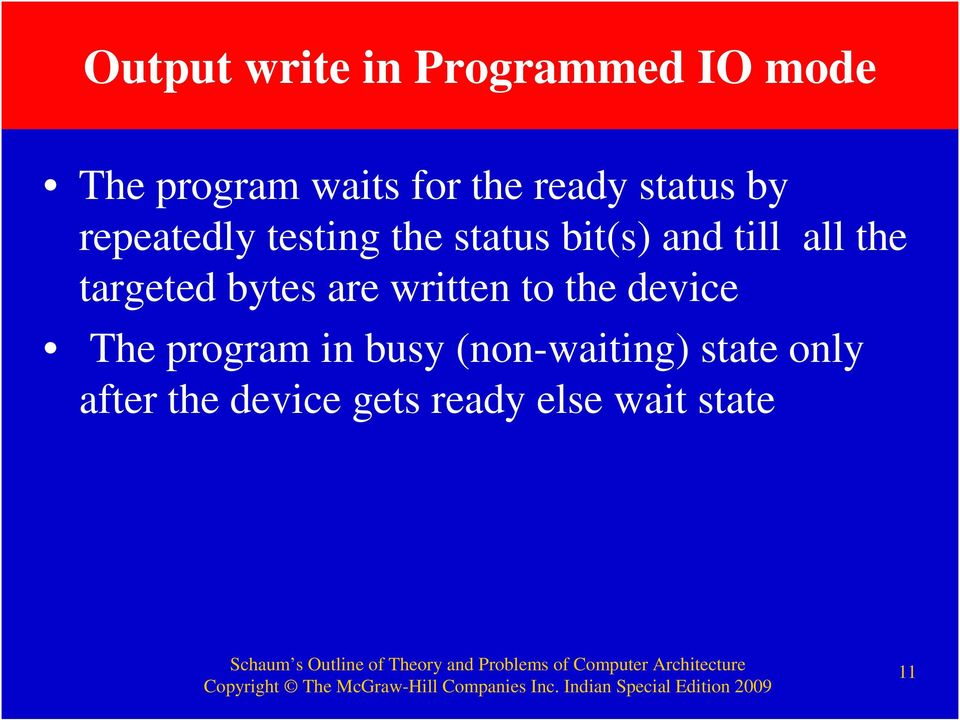 the targeted bytes are written to the device The program in busy