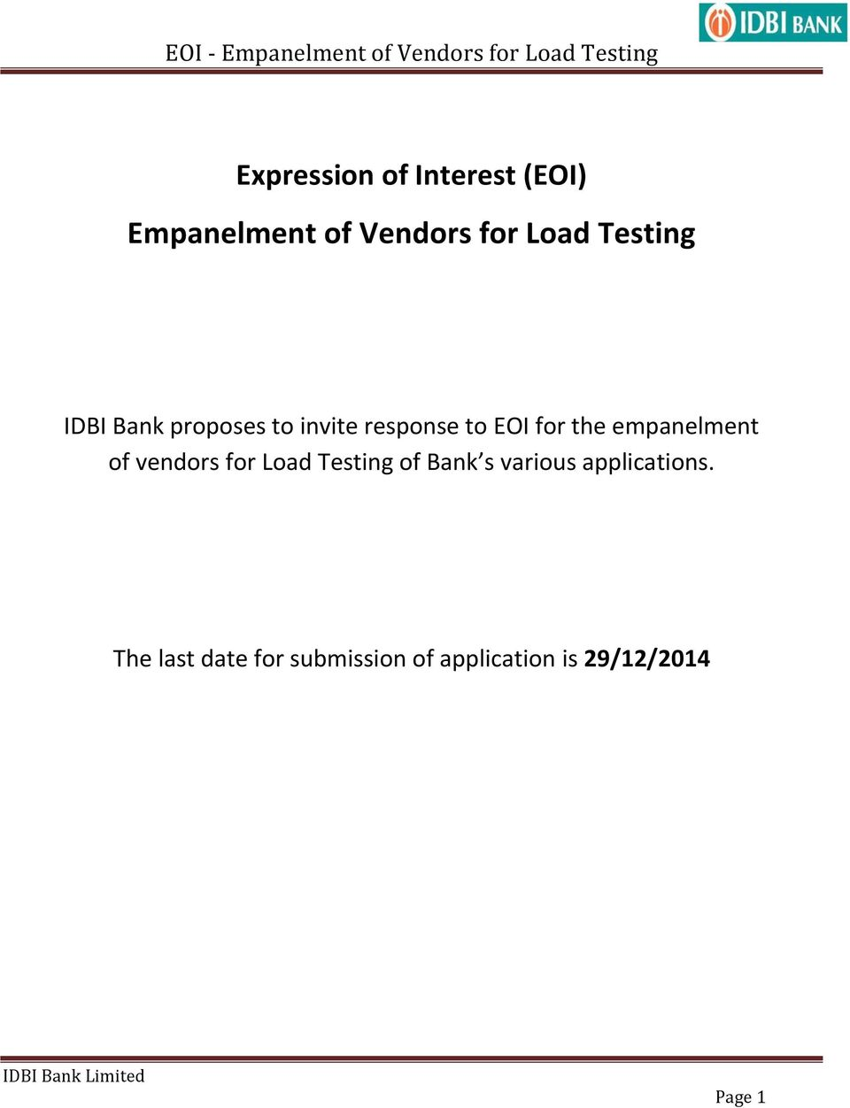 empanelment of vendors for Load Testing of Bank s various