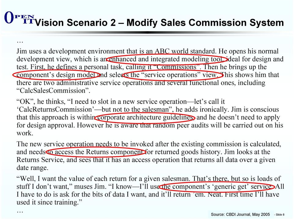 Then he brings up the component s design model and selects the service operations view.