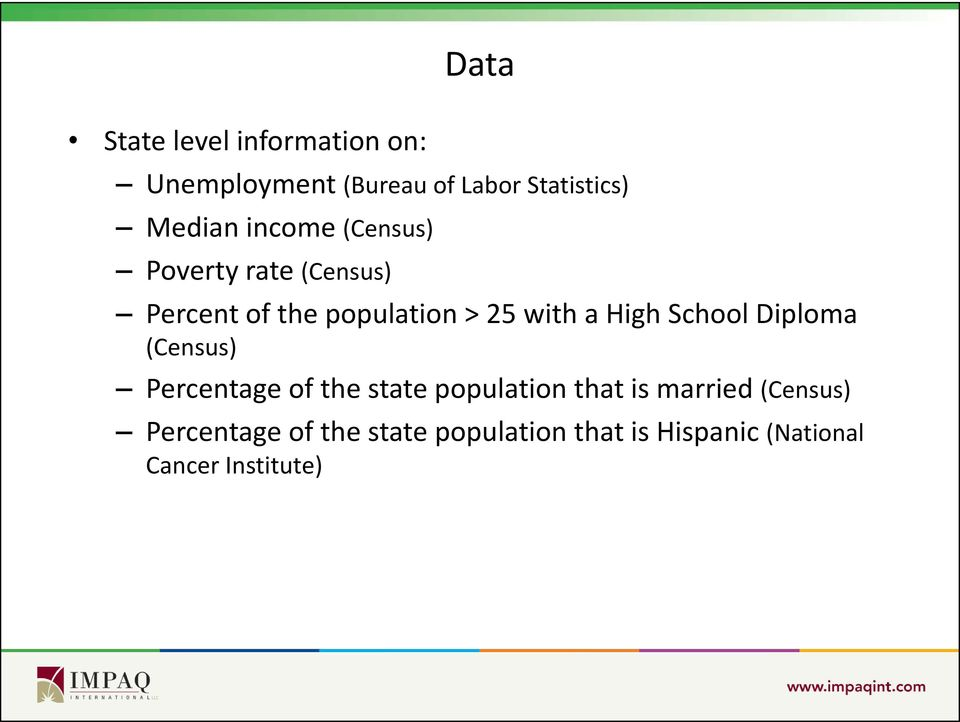 School Diploma (Census) Percentage of the state population that is married