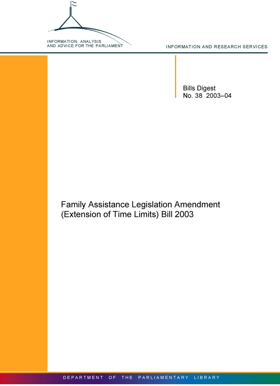 38 2003 04 Family Assistance Legislation Amendment