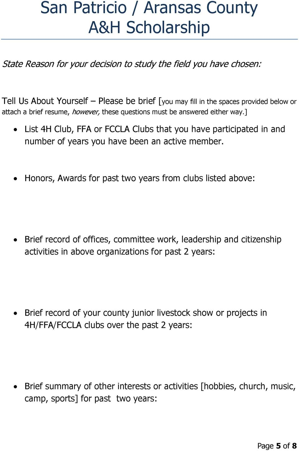 Honors, Awards for past two years from clubs listed above: Brief record of offices, committee work, leadership and citizenship activities in above organizations for past 2 years: Brief
