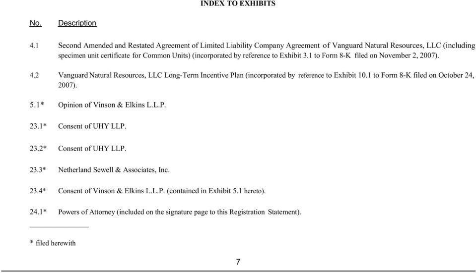reference to Exhibit 3.1 to Form 8-K filed on November 2, 2007). 4.2 Vanguard Natural Resources, LLC Long-Term Incentive Plan (incorporated by reference to Exhibit 10.