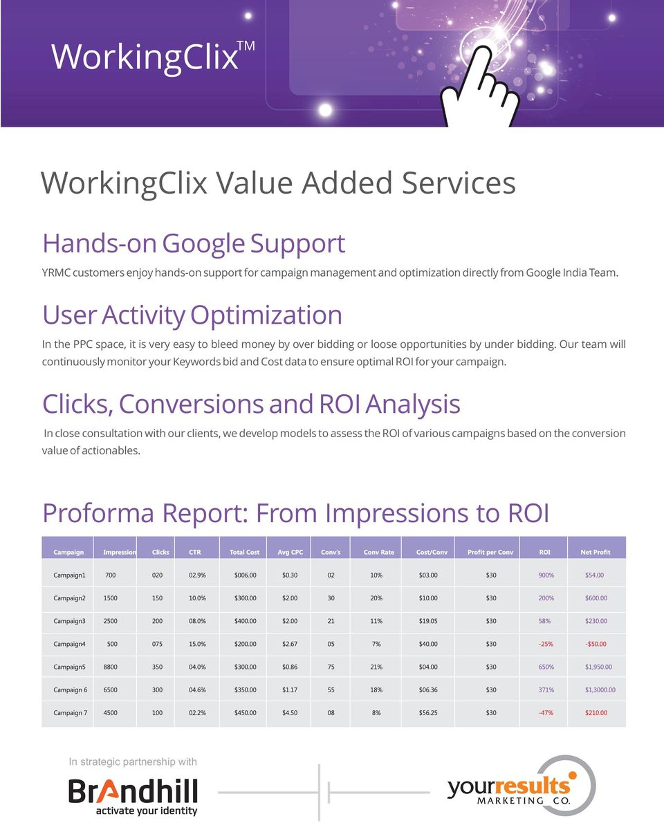 Our team will continuously monitor your Keywords bid and Cost data to ensure optimal ROI for your campaign.