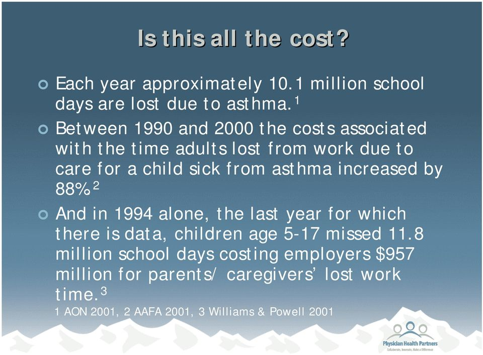 asthma increased by 88%. 2 And in 1994 alone, the last year for which there is data, children age 5-17 missed 11.