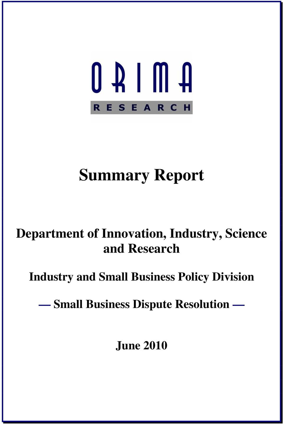 Research Industry and Small Business