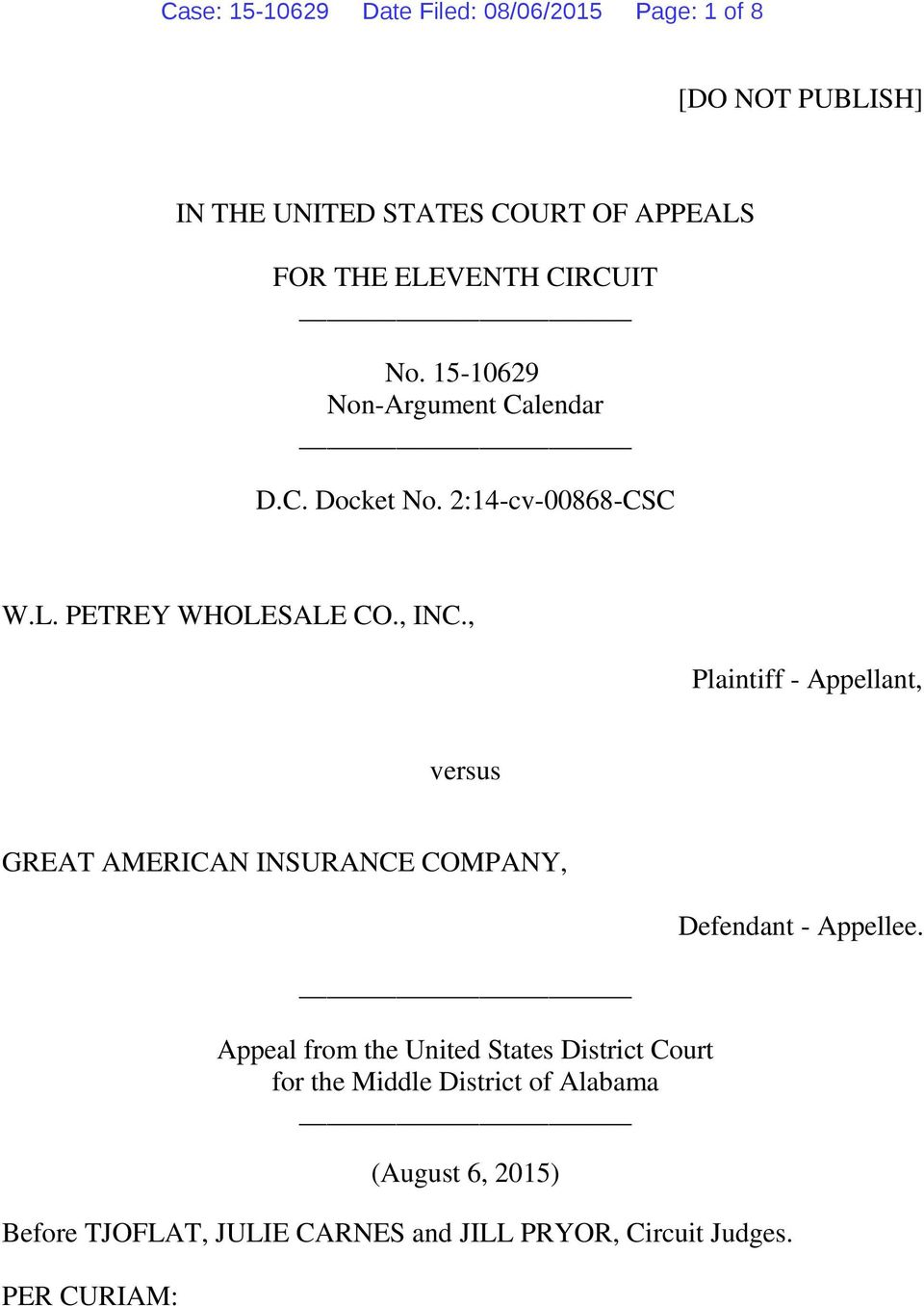 , Plaintiff - Appellant, versus GREAT AMERICAN INSURANCE COMPANY, Appeal from the United States District Court for the