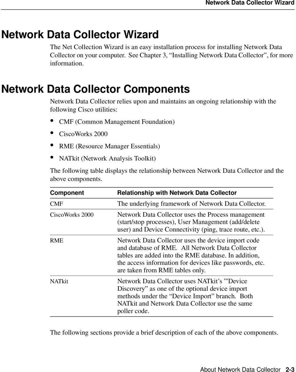 Network Data Collector Components Network Data Collector relies upon and maintains an ongoing relationship with the following Cisco utilities: CMF (Common Management Foundation) CiscoWorks 2000 RME