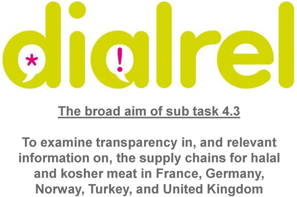 information on, the supply chains for halal