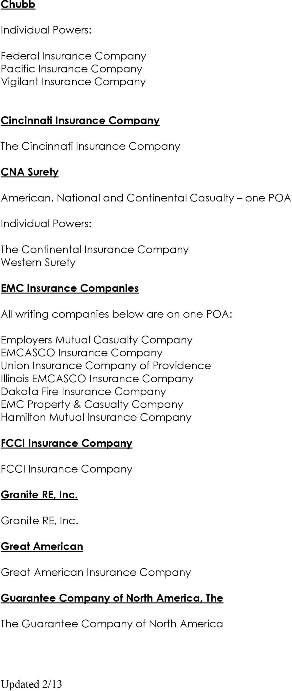 Insurance Company of Providence Illinois EMCASCO Insurance Company Dakota Fire Insurance Company EMC Property & Casualty Company Hamilton Mutual Insurance Company FCCI Insurance