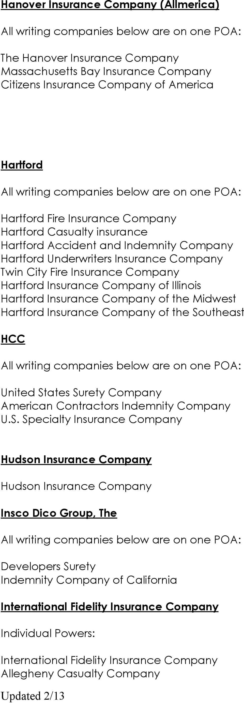 Company of the Midwest Hartford Insurance Company of the So