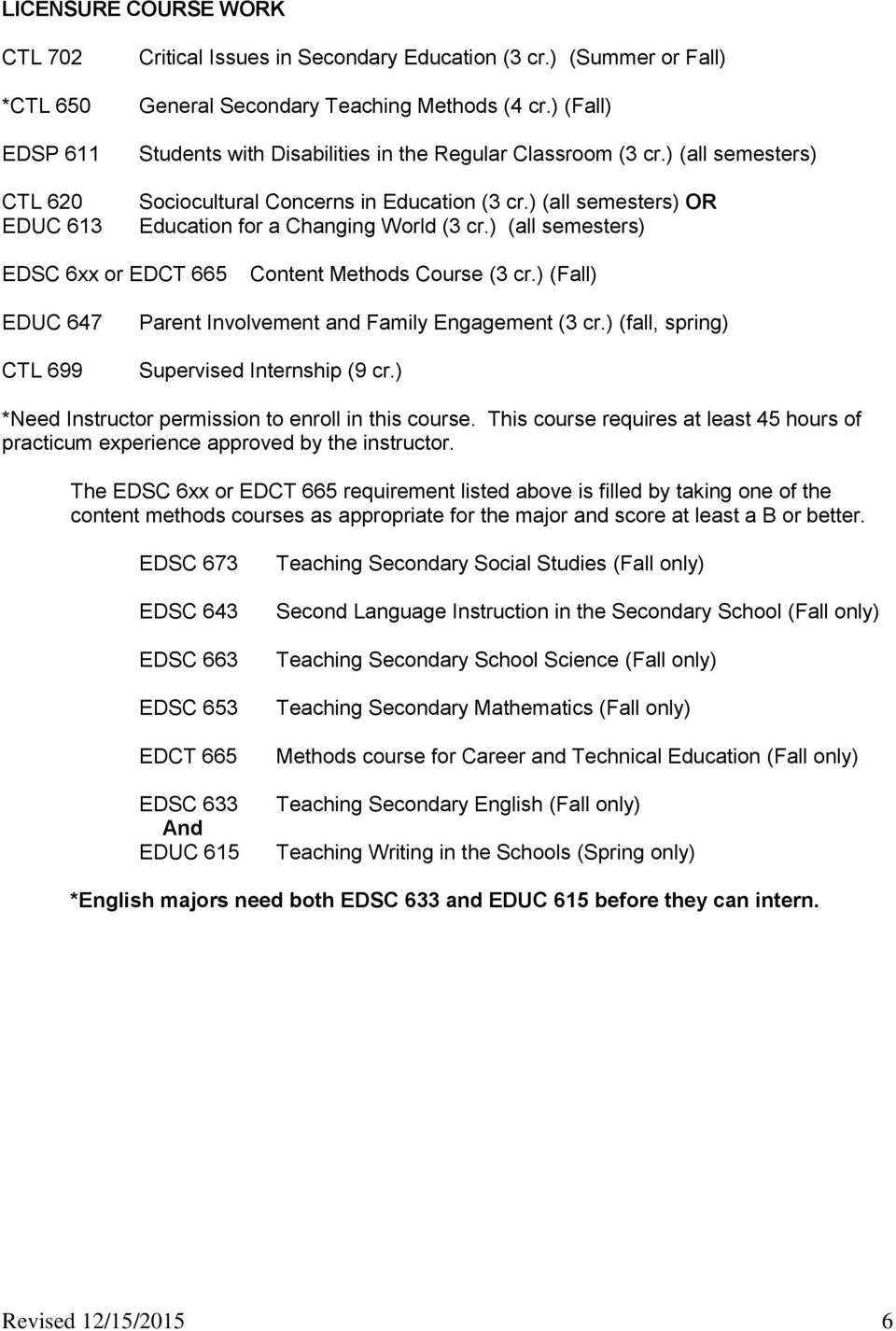 ) (all semesters) EDSC 6xx or EDCT 665 Content Methods Course (3 cr.) (Fall) EDUC 647 CTL 699 Parent Involvement and Family Engagement (3 cr.) (fall, spring) Supervised Internship (9 cr.