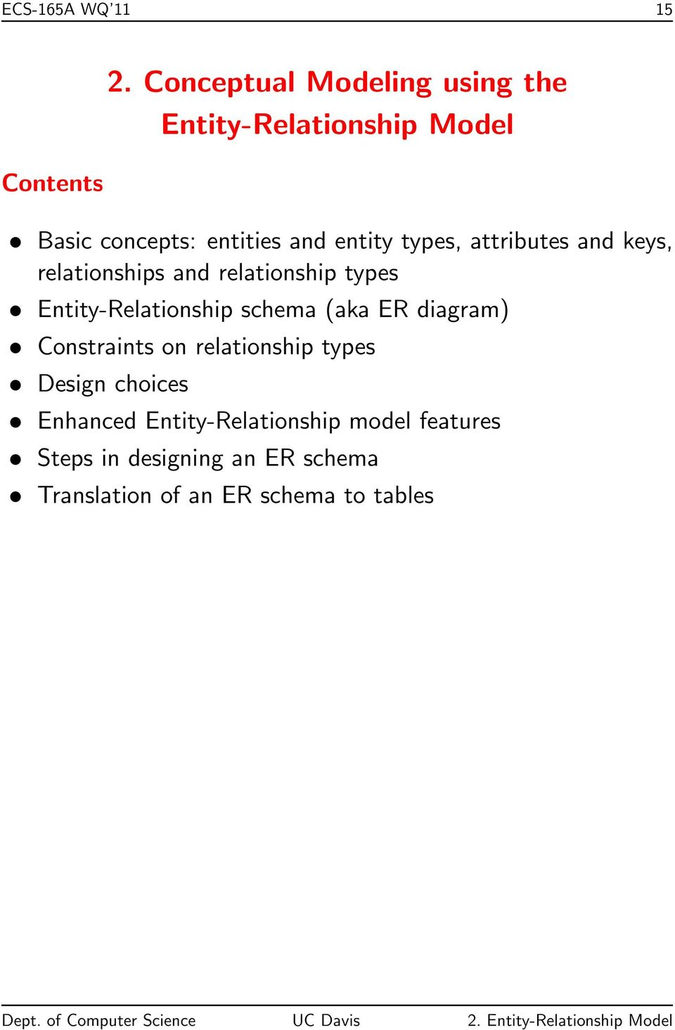 attributes and keys, relationships and relationship types Entity-Relationship schema (aka ER