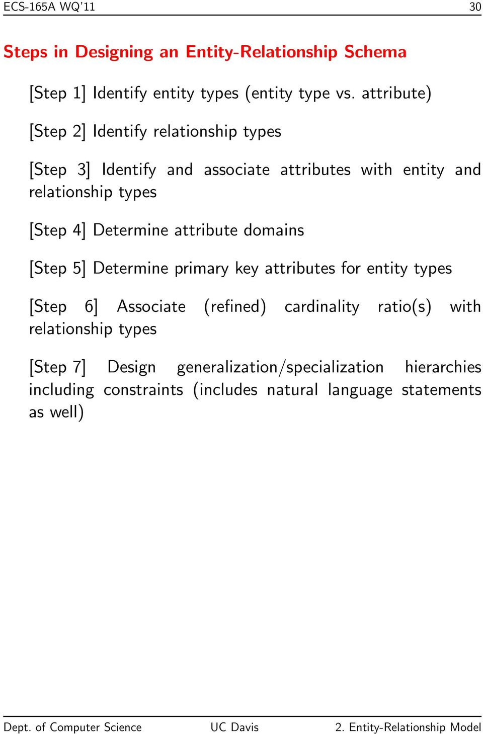 Determine attribute domains [Step 5] Determine primary key attributes for entity types [Step 6] Associate (refined) cardinality