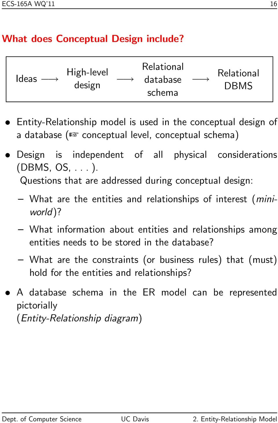 Design is independent of all physical considerations (DBMS, OS,... ).