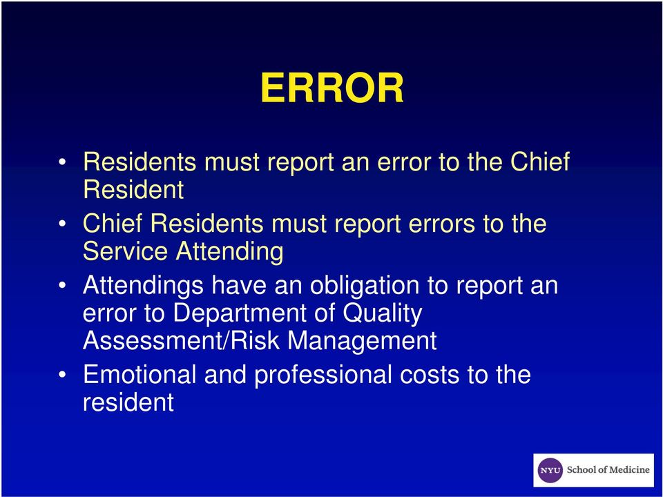have an obligation to report an error to Department of Quality