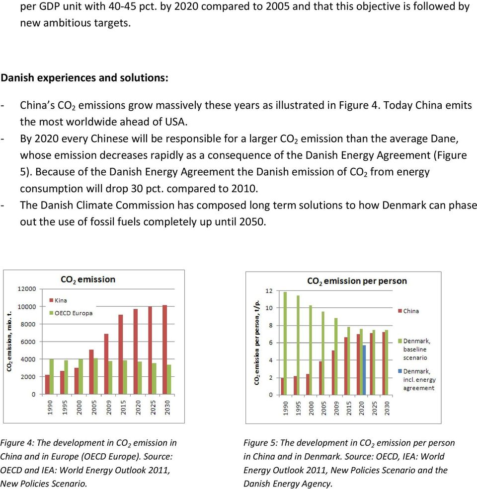 By 2020 every Chinese will be responsible for a larger CO 2 emission than the average Dane, whose emission decreases rapidly as a consequence of the Danish Energy Agreement (Figure 5).