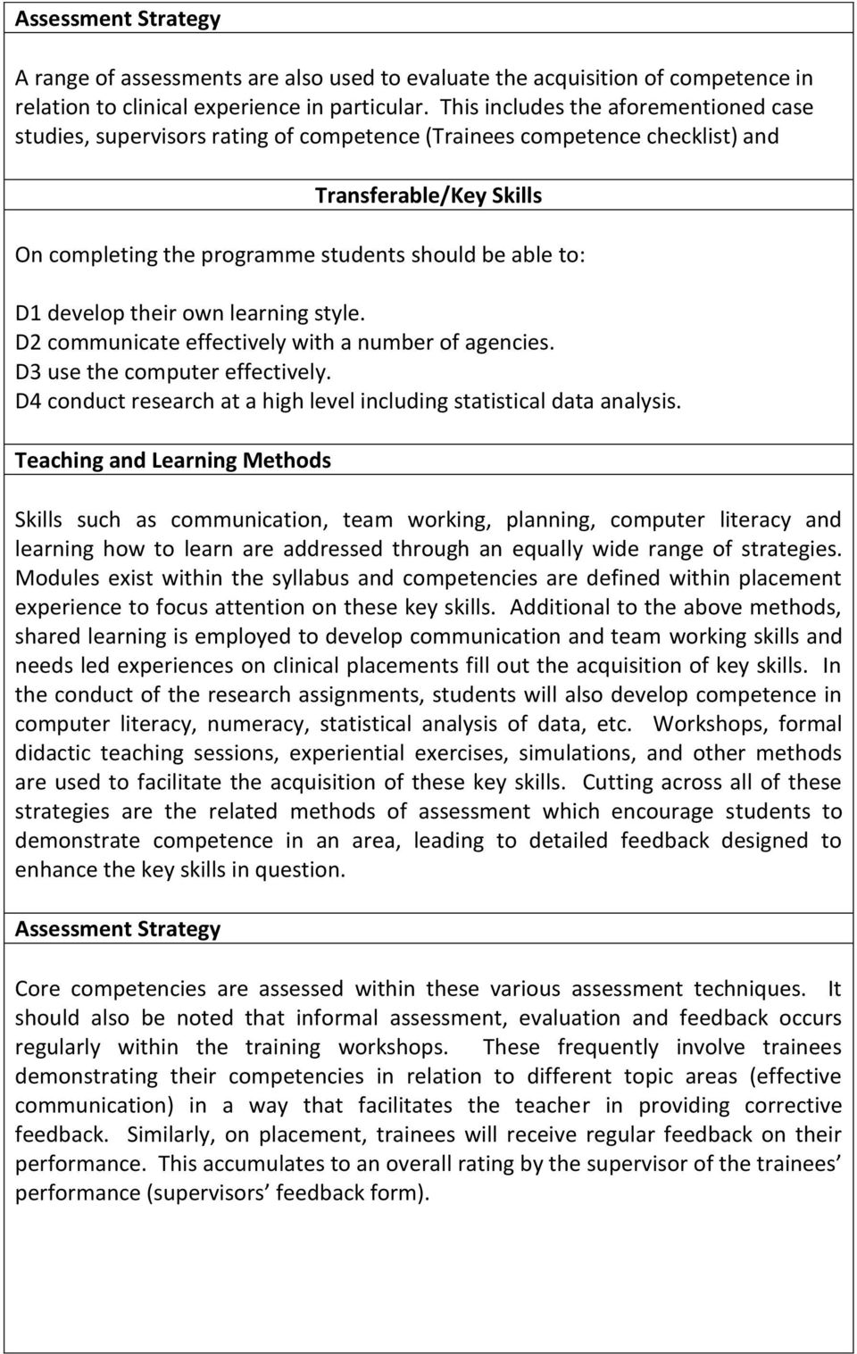 develop their own learning style. D2 communicate effectively with a number of agencies. D3 use the computer effectively. D4 conduct research at a high level including statistical data analysis.