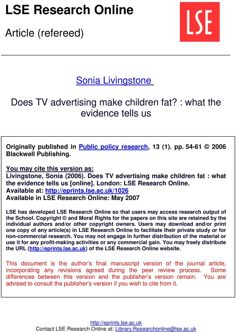 tv advertising research paper