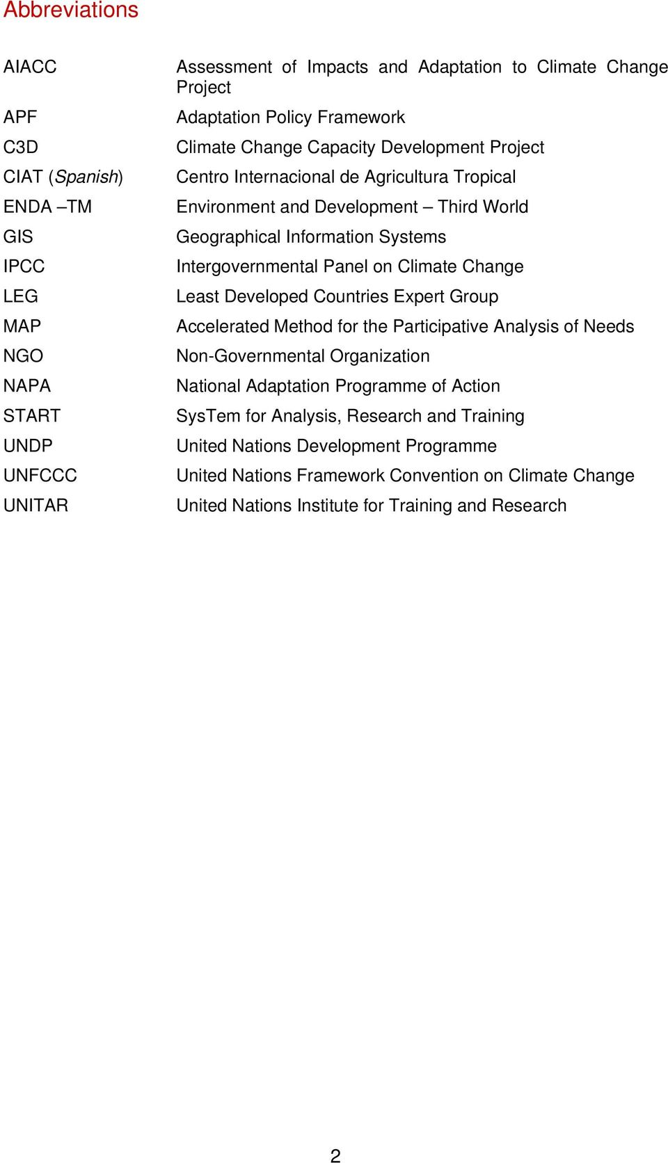 Intergovernmental Panel on Climate Change Least Developed Countries Expert Group Accelerated Method for the Participative Analysis of Needs Non-Governmental Organization National