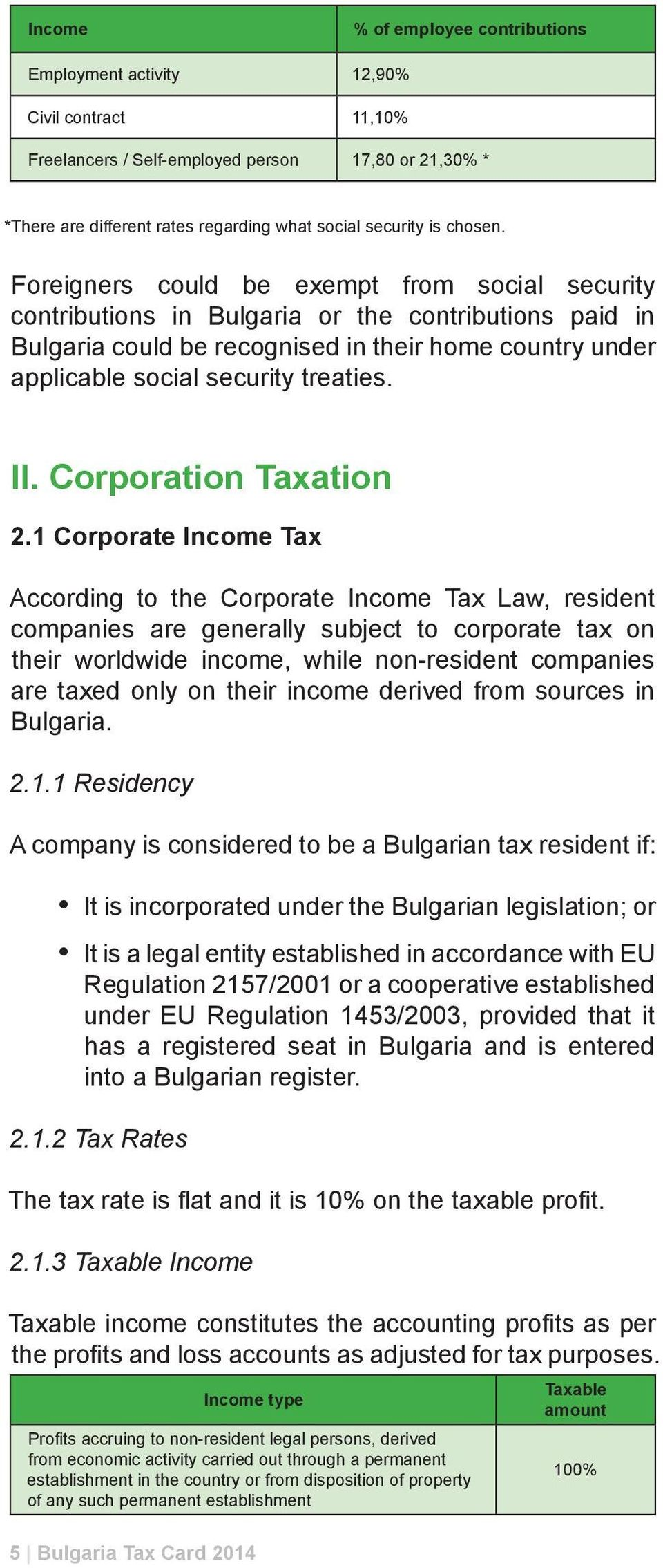 Foreigners could be exempt from social security contributions in Bulgaria or the contributions paid in Bulgaria could be recognised in their home country under applicable social security treaties. II.