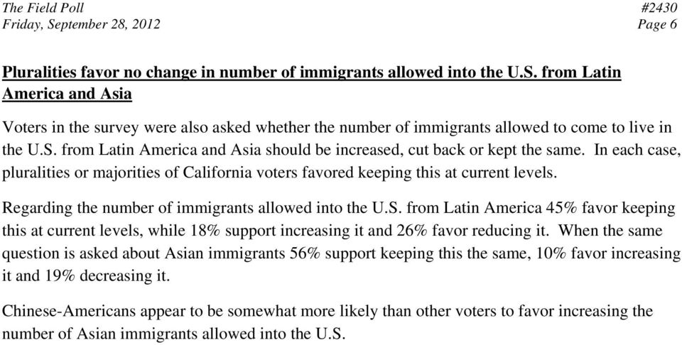 Regarding the number of immigrants allowed into the U.S. from Latin America 45% favor keeping this at current levels, while 18% support increasing it and 26% favor reducing it.