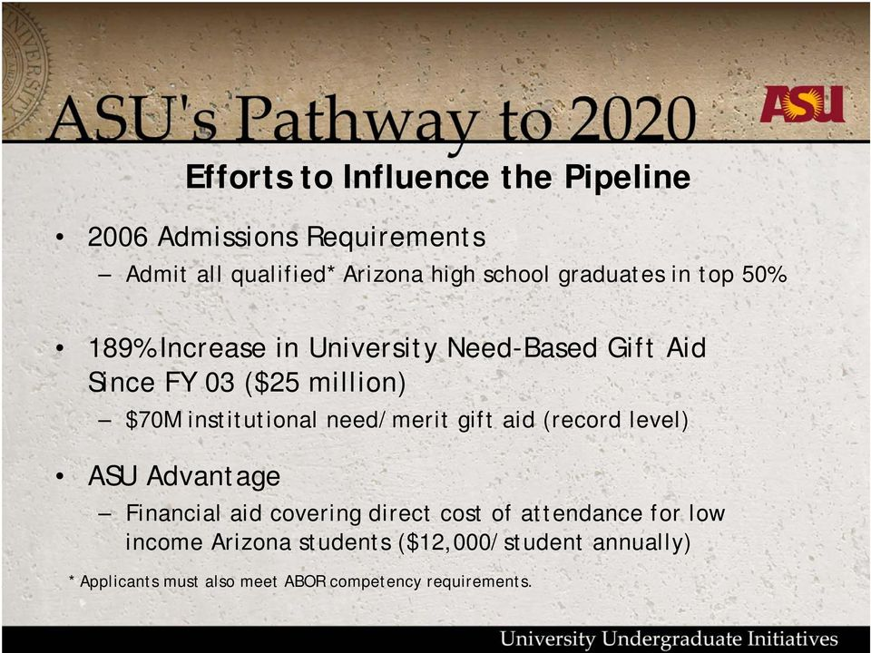 institutional need/merit gift aid (record level) ASU Advantage Financial aid covering direct cost of