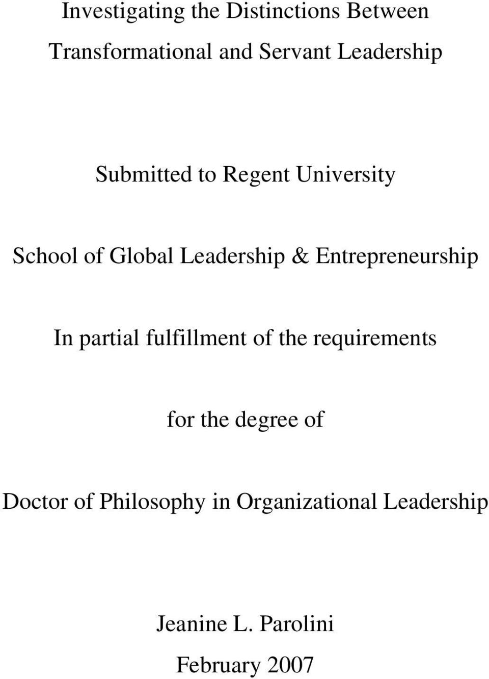Entrepreneurship In partial fulfillment of the requirements for the degree