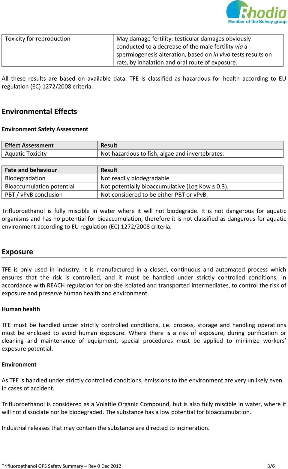 Environmental Effects Environment Safety Assessment Effect Assessment Aquatic Toxicity Not hazardous to fish, algae and invertebrates. Fate and behaviour Biodegradation Not readily biodegradable.