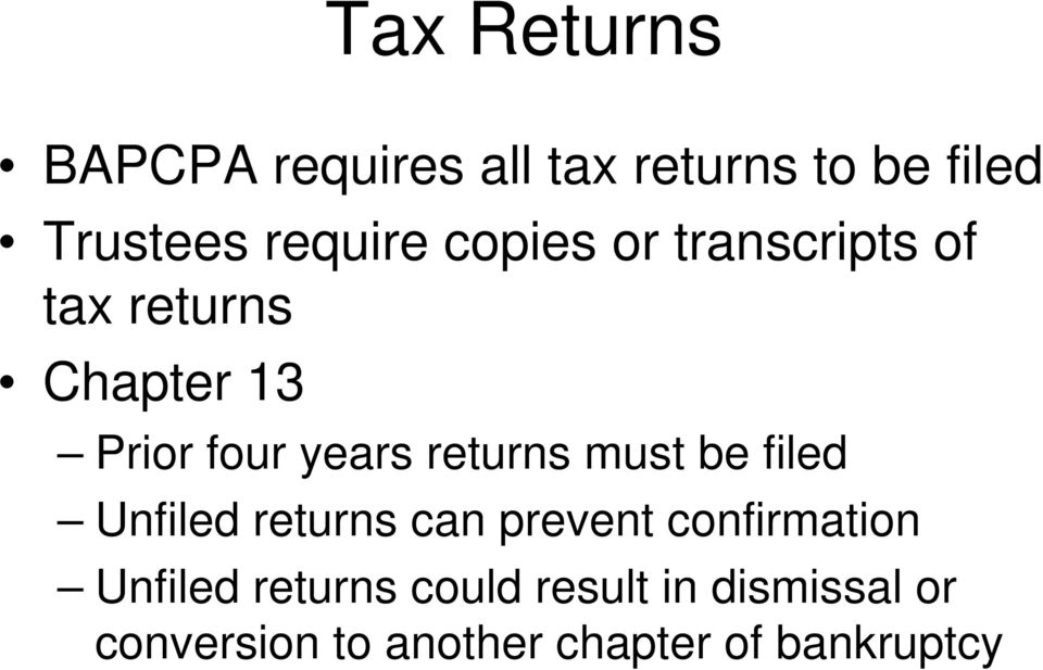 must be filed Unfiled returns can prevent confirmation Unfiled returns