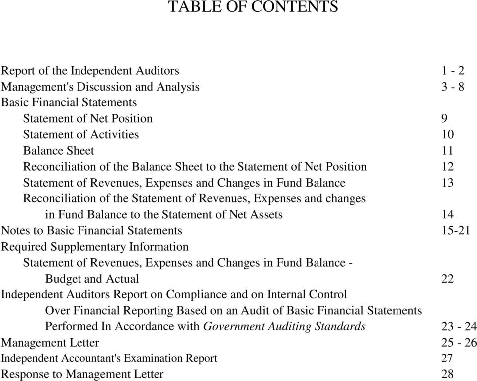 changes in Fund Balance to the Statement of Net Assets 14 Notes to Basic Financial Statements 15-21 Required Supplementary Information Statement of Revenues, Expenses and Changes in Fund Balance -