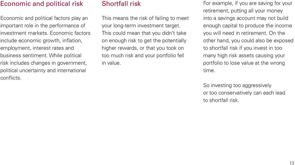 While political risk includes changes in government, political uncertainty and international conflicts. Shortfall risk This means the risk of failing to meet your long-term investment target.