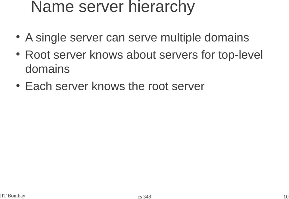 about servers for top-level domains Each